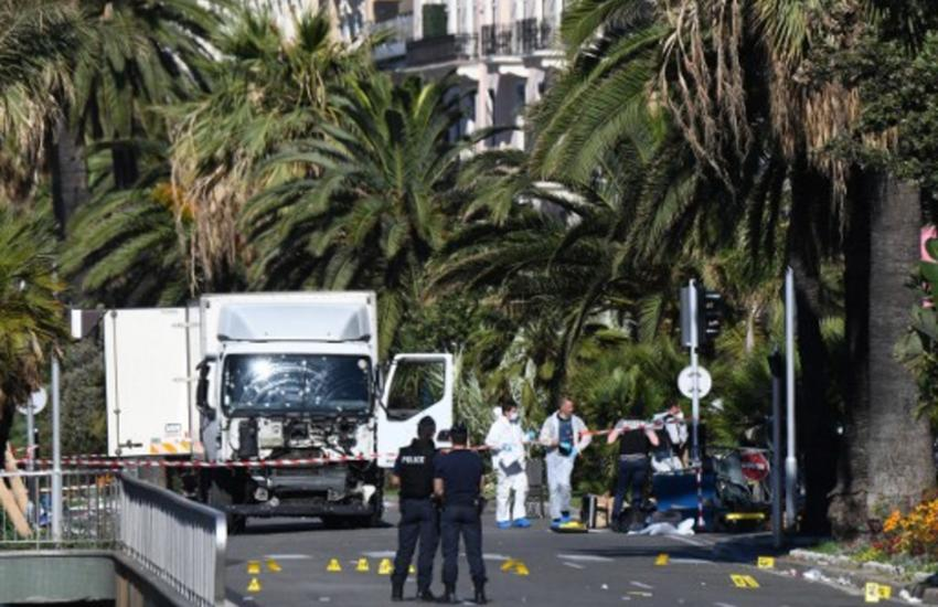 "An attack in Nice where a man rammed a truck into a crowd of people, leaving 84 dead and another 18 in a ""critical condition""."