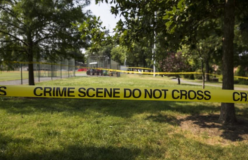 : Crime scene tape blocks off the baseball field where House Majority Whip Congressman Steve Scalise was shot along with 4 others during an ambush style shooting attack by a gunman in Alexandria, Washington, United States on June 14, 2017
