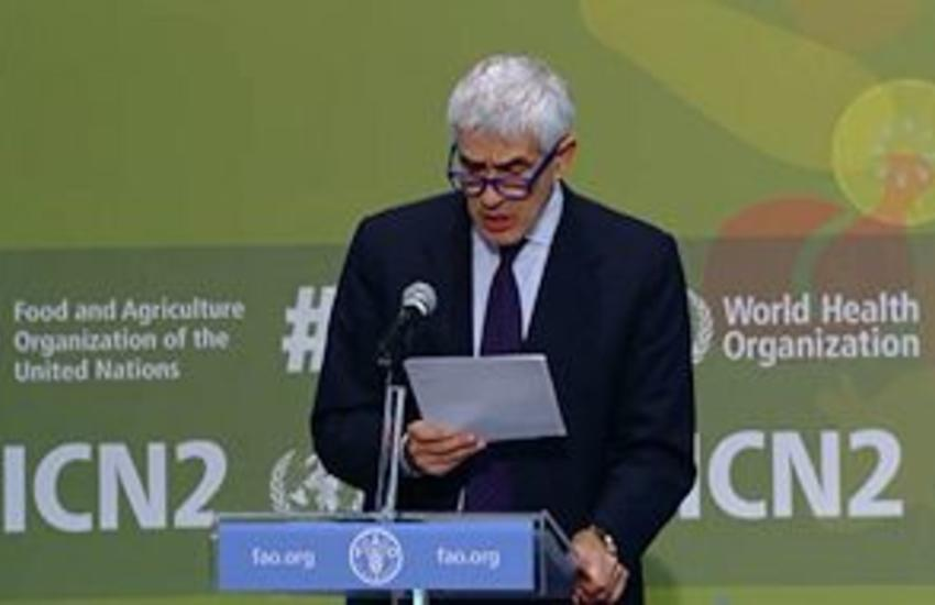 "IPU´s Honorary President Pier Ferdinando Casini stressed the elimination of  all kinds of malnutrition ""is an imperative which spares no country and  must be achieved within our life time."" ©FAO"