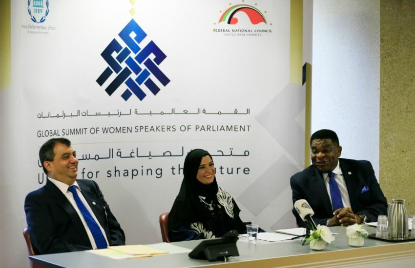 Speaker Dr Amal Al Qubaisi, IPU President and IPU Secretary General briefing the press on the Summit.