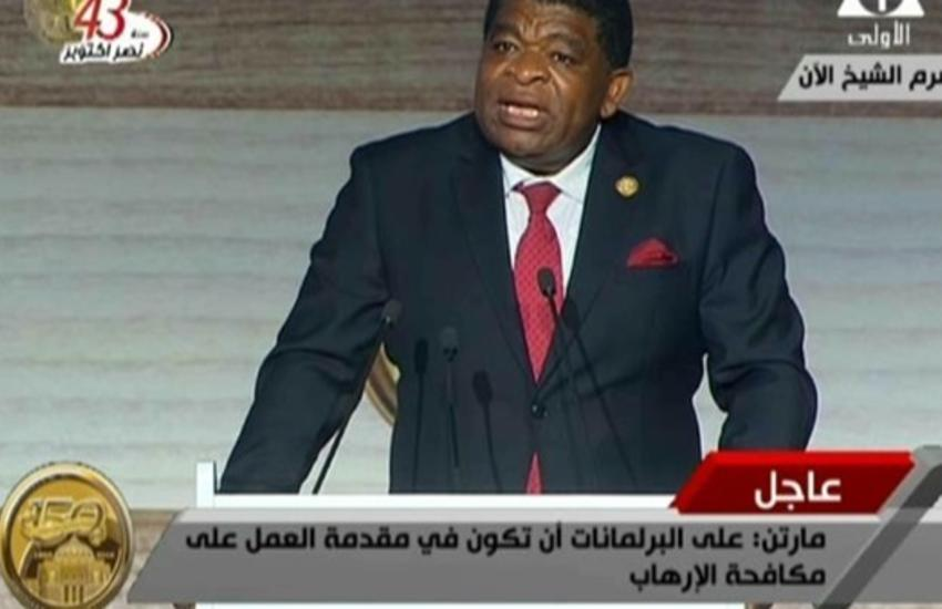 Martin Chungong addressing the Presidents of the African and Arab Parliaments.