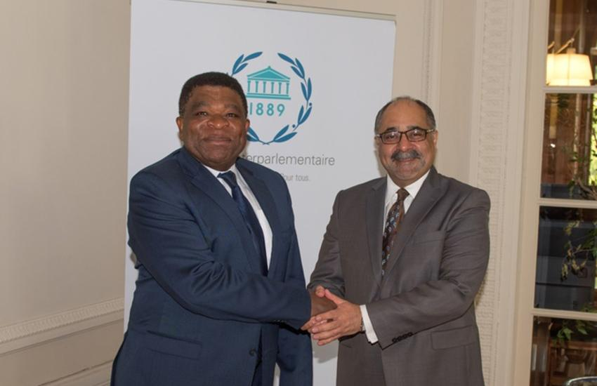 IPU Secretary General, Martin Chungong, and Pakistan's Ambassador to the UN, Farukh Amil.