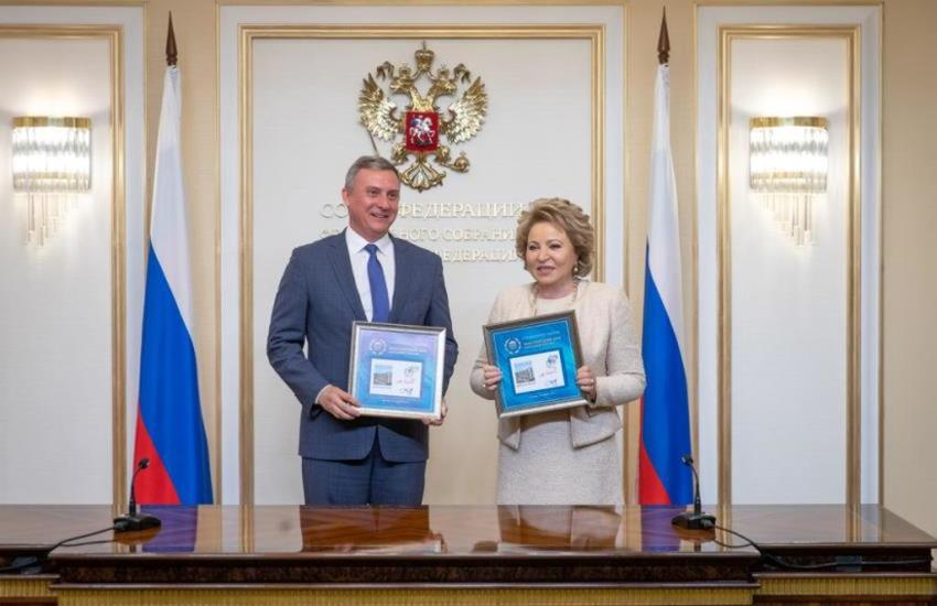 Chairman of the Federation Council, Valentina Matvienko, and the Head of the Federal Agency of Communication, Oleg Dukhovnitsky