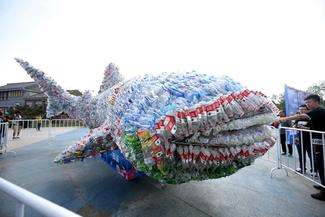 Whale made out of plastic at the UN High Level Political Forum, July 2018
