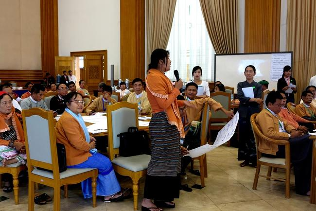 Lady speaking at IPU event in Myanmar