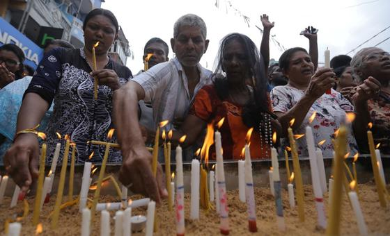 Sri Lankan Catholics after a bomb explosion